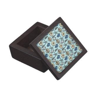 Pretty Blue Shell Starfish Sea Pattern Premium Jewelry Boxes