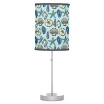 Pretty Blue Shell Starfish Sea Pattern Table Lamp