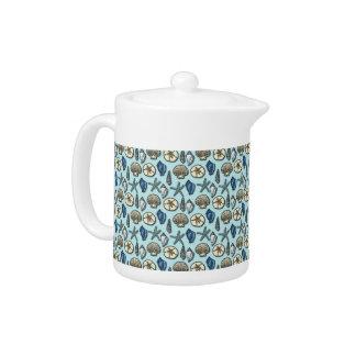 Pretty Blue Shell Starfish Sea Pattern Teapot
