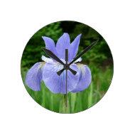 Pretty Blue Siberian Iris Floral Photography Round Clock