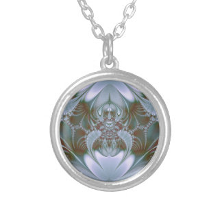 Pretty Blue Silk and Satin Look Silver Plated Necklace