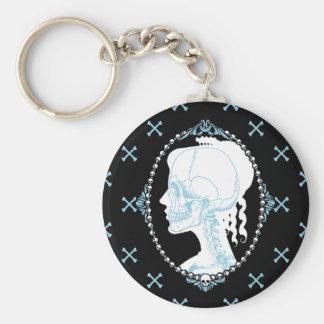 Pretty Blue Skull Cameo Basic Round Button Keychain