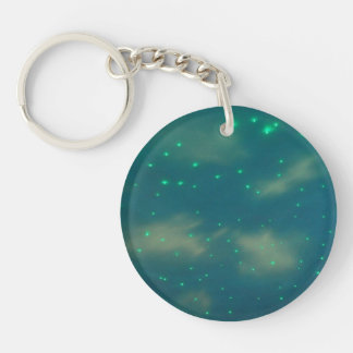 Pretty Blue Sky Lights Double-Sided Round Acrylic Keychain