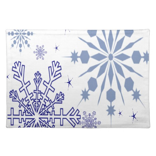 Pretty Blue Snowflakes Cloth Placemat