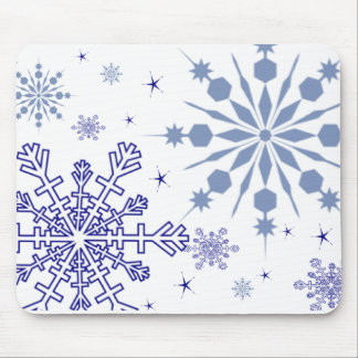 Pretty Blue Snowflakes Mouse Pad