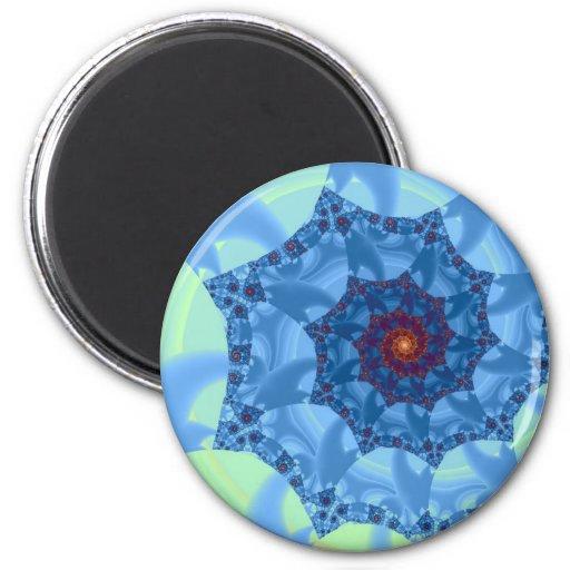 Pretty Blue Spiral Icicle Design 2 Inch Round Magnet