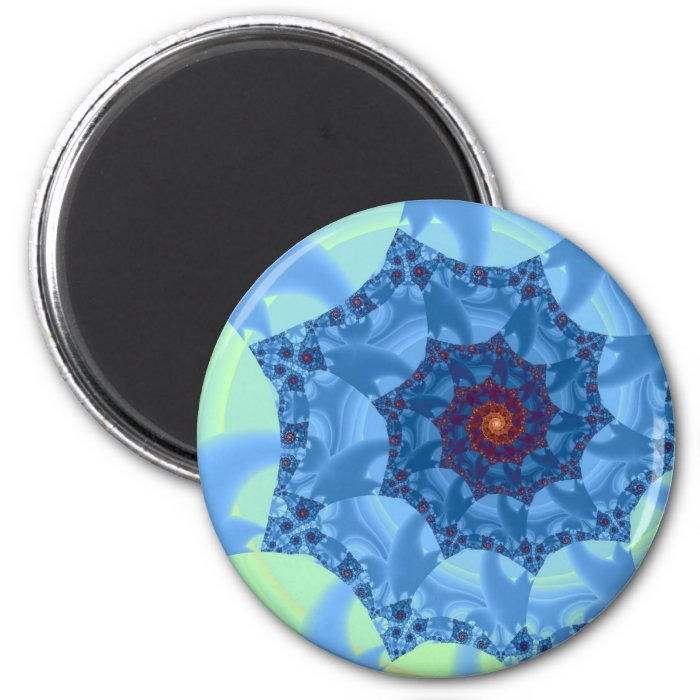 Pretty Blue Spiral Icicle Design 2 Inch Round Magnet