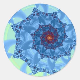 Pretty Blue Spiral Icicle Design Classic Round Sticker