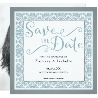 Pretty Blue Square Save the Date Invitation