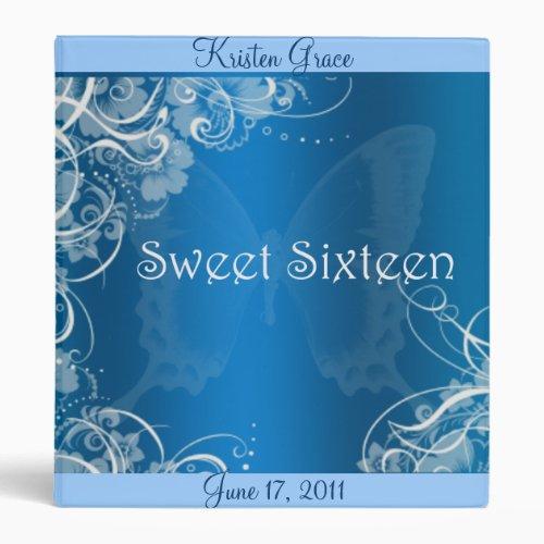 Pretty Blue Sweet Sixteen Custom Photo Album Binder