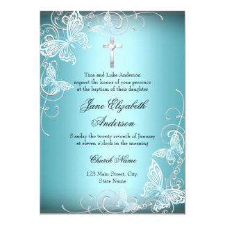 Pretty Blue Swirl Butterfly & Cross Baptism Invite