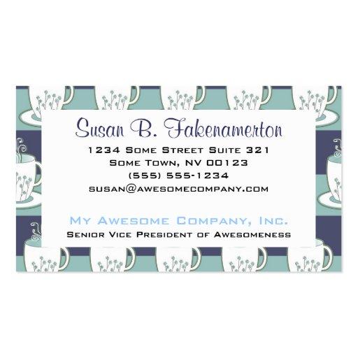 Pretty Blue Teacups Print Business Card Template
