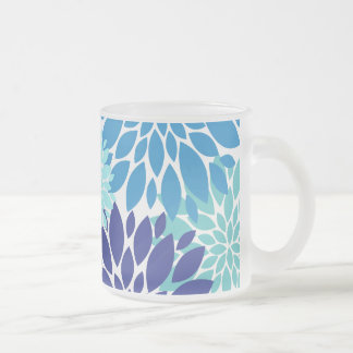 Pretty Blue Teal Turquoise Flowers Floral Art 10 Oz Frosted Glass Coffee Mug
