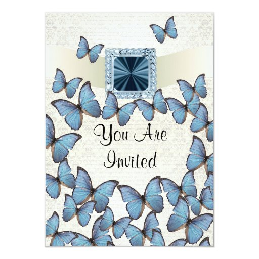 Pretty blue vintage butterfly collage card