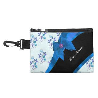 Pretty blue vintage floral flower pattern accessory bag