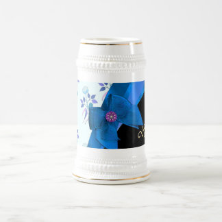 Pretty blue vintage floral flower pattern beer stein