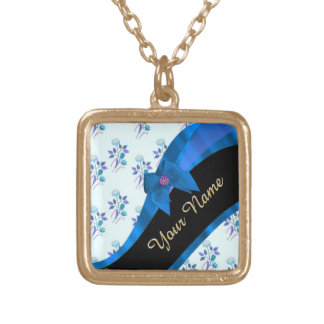 Pretty blue vintage floral flower pattern gold plated necklace
