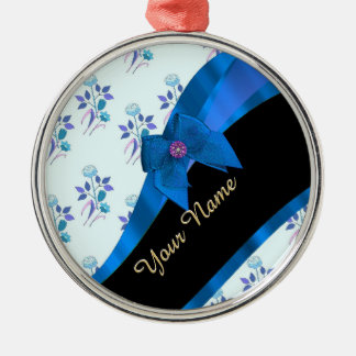 Pretty blue vintage floral flower pattern metal ornament