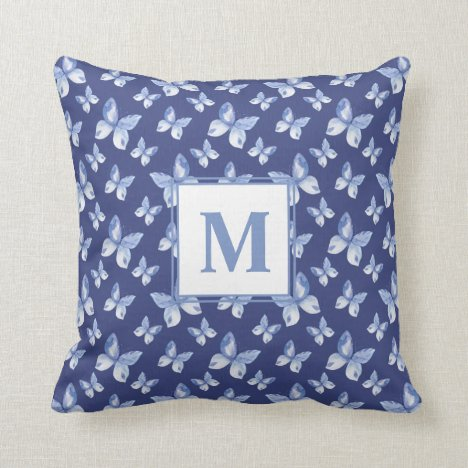 Pretty Blue Watercolor Butterfly Pattern Monogram Throw Pillow