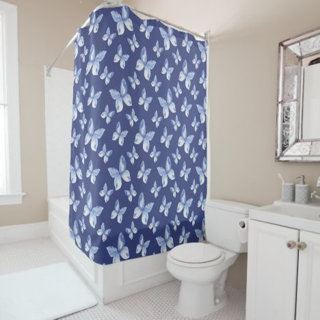 Pretty Blue Watercolor Butterfly Pattern Shower Curtain
