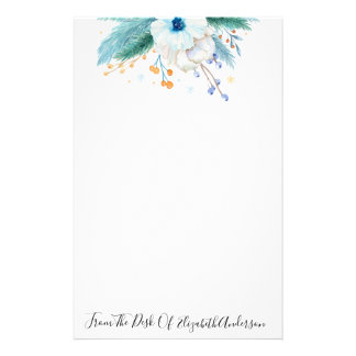 Pretty Blue Watercolor Floral Personalized Stationery