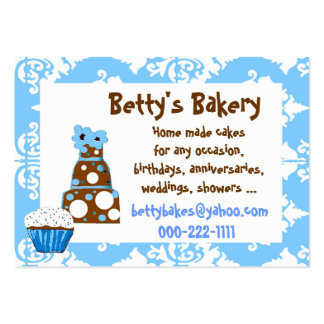 Pretty blue, white, and brown Business Card