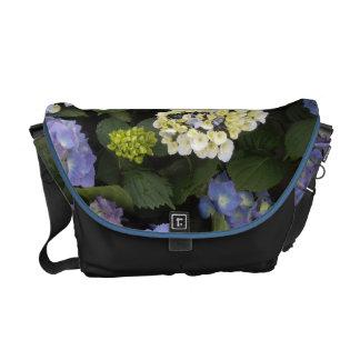 Pretty Blue-White Hydrangeas Messenger Bag