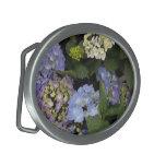 Pretty Blue-White Hydrangeas Oval Belt Buckles