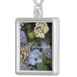 Pretty Blue-White Hydrangeas Personalized Necklace