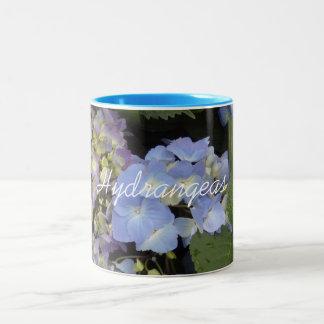 Pretty Blue White Hydrangeas Two-Tone Coffee Mug