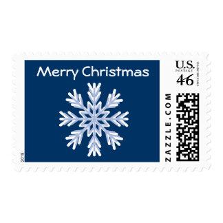 Pretty Blue White Snowflake Christmas Stamps