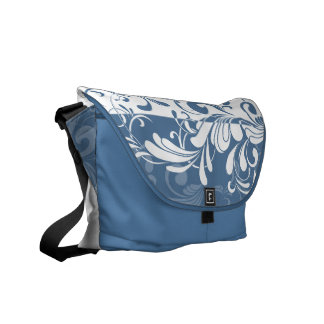 Pretty Blue + White Swirls Shoulder Messenger Bag