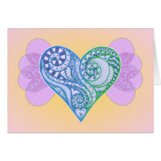 Pretty Blue Zen Tangle Heart with Wings on Pink Card