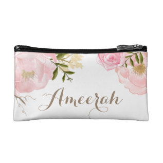 Pretty Blush Peonies Personalized Cosmetic Bag at Zazzle
