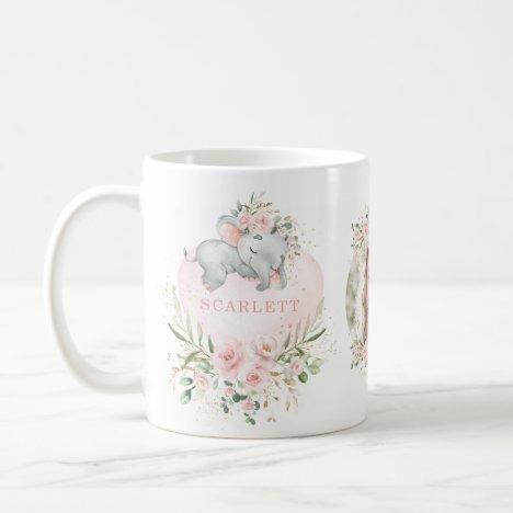 Pretty Blush Pink Floral Baby Elephant Girl Photo Coffee Mug