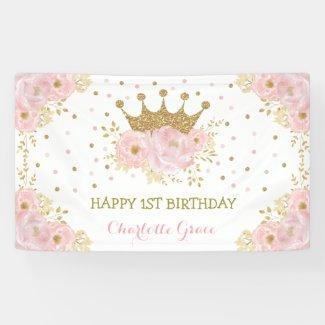 Pretty Blush Pink Floral Crown Princess Birthday Banner