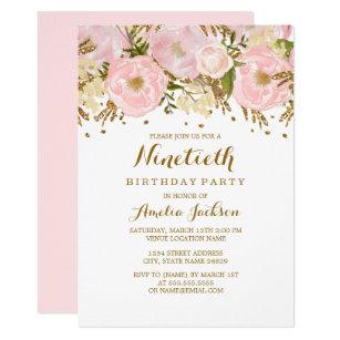 Pretty Blush Pink Gold Fl 90th Birthday Invitation