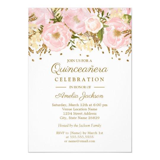 pretty blush pink gold floral quinceanera invitation zazzle com