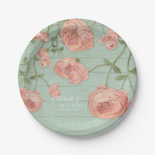 Peach And Mint Plates | Zazzle