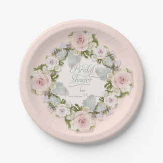 Pretty Blush Pink Roses W Succulent Bridal Shower Paper Plate