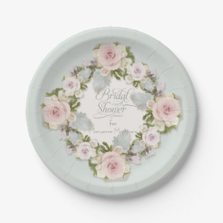Pretty Blush Pink Roses w Succulent Leaves Bridal Paper Plate
