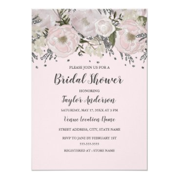 LittleBayleigh Pretty Blush Pink Silver Floral Birdal Shower Card