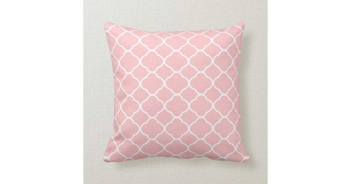 Blush Pink Throw Pillows : Pretty Blush Pink White Quatrefoil Pattern Throw Pillow Zazzle.com