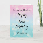 "Pretty Bokeh, Happy 18th Birthday Granddaughter Card<br><div class=""desc"">A pretty birthday granddaughter card,  which you can easily personalize with her name  and age. Inside this bokeh birthday card reads ""May your birthday and every day be filled with love,  laughter and happiness"". You can also personalize the birthday message inside the card if you would like.</div>"