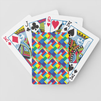 Pretty Bold Colorful Diagonal Quilt Pattern Bicycle Playing Cards