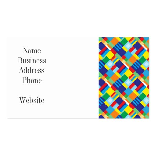 pretty bold colorful diagonal quilt pattern business card zazzle. Black Bedroom Furniture Sets. Home Design Ideas