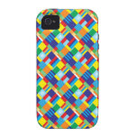 Pretty Bold Colorful Diagonal Quilt Pattern iPhone 4 Cases