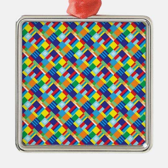 Pretty Bold Colorful Diagonal Quilt Pattern Metal Ornament