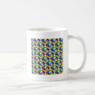 Pretty Bold Colorful Diagonal Quilt Pattern Classic White Coffee Mug