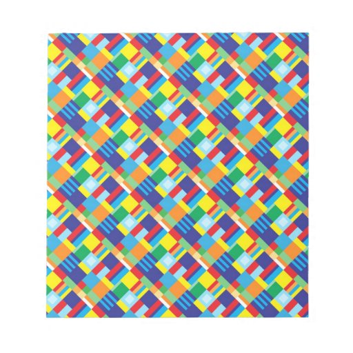 Pretty Bold Colorful Diagonal Quilt Pattern Memo Note Pads